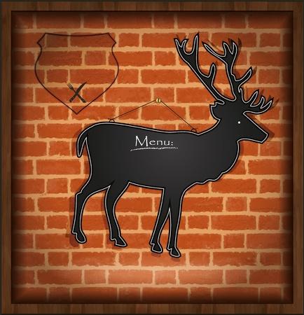 raster blackboard deer menu card brick wall background  photo
