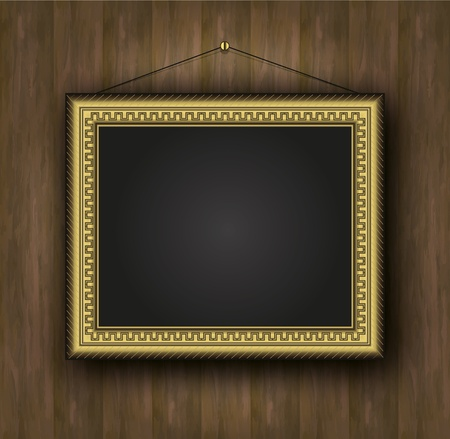 raster blackboard old frame gold background wood  photo