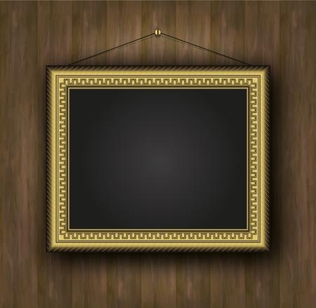 raster blackboard old frame gold background wood  photo