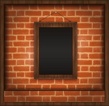 Blackboard frame wood menu brick wall raster Stock Photo
