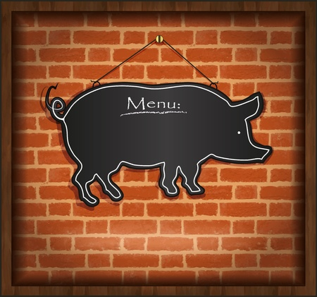 raster blackboard pig menu card brick wall background photo