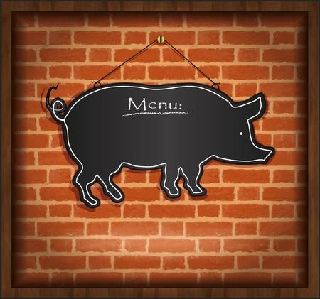 raster blackboard pig menu card brick wall background Stock Photo - 13166254