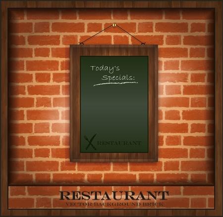 vector blackboard frame wood menu brick wall green Vector
