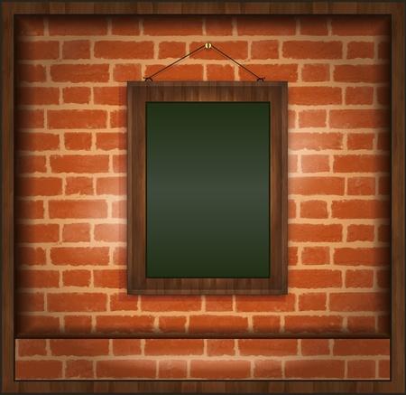 specials: raster blackboard frame wood menu brick wall green Stock Photo