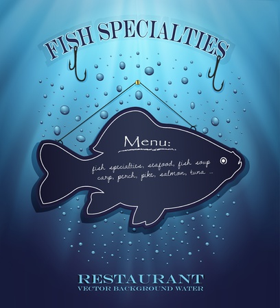 speciality: vector blackboard fish menu restaurant water blue background drops sea