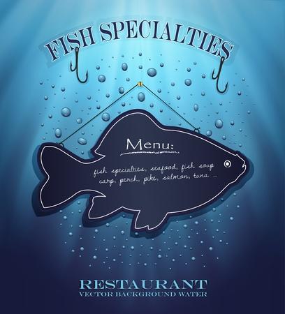 vector blackboard fish menu restaurant water blue background drops sea