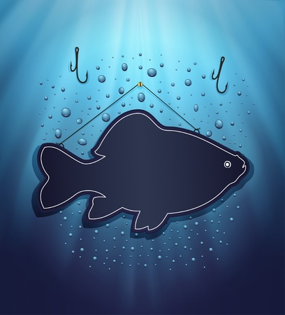 raster blackboard fish water blue background drops Stock Photo - 13166292