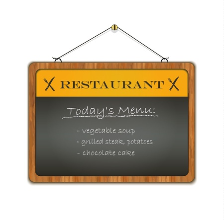 blackboard wood frame menu vector