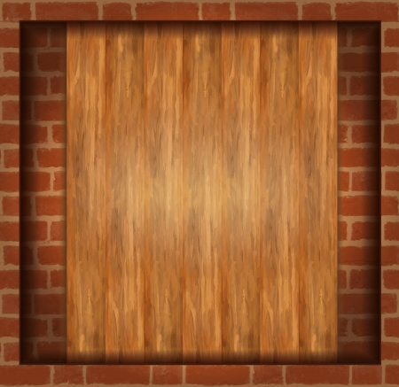 vector background texture brick wood frame  Stock Vector - 14030754