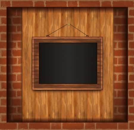 vector blackboard frame wood photo brick wall Stock Vector - 14030818