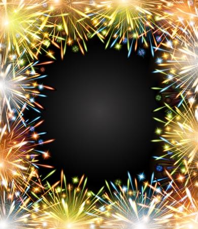 brillant: Feuerwerk Feuer Farbrahmen Tafel Gratulation PhotoFrame Illustration