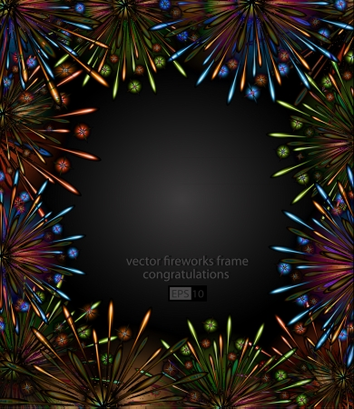 fireworks night frame color  Vector