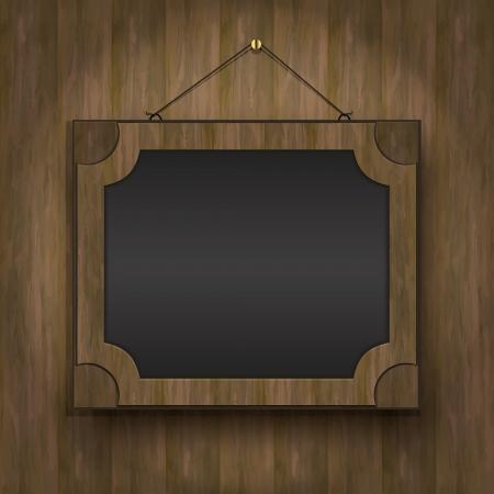 frame old wood blackboard menu restaurant  Vector