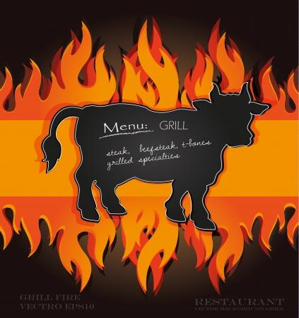 taurus: blackboard grill menu card cow bull fire board Illustration