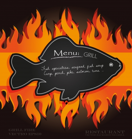 blackboard grill menu card fish fire board Vector