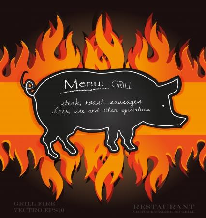 Tafel Grill-Menü-Karte Schwein Feuer Bord