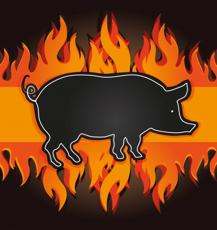 barbecue fire: raster blackboard grill menu card pig fire board