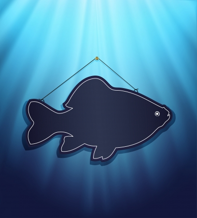raster blackboard fish water blue background  photo