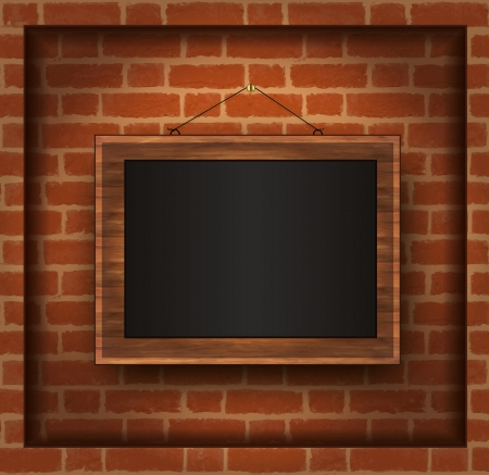 blackboard wood frame brick wall Vector