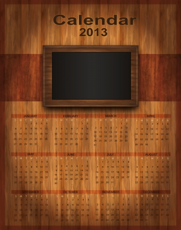 Calendar 2013 wood frame Vector