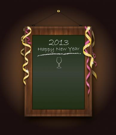 blackboard new Year  menu 2013 green Vector