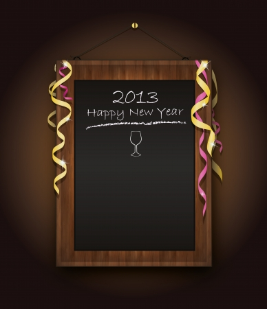 blackboard new Year  menu 2013 black Stock Vector - 14315871