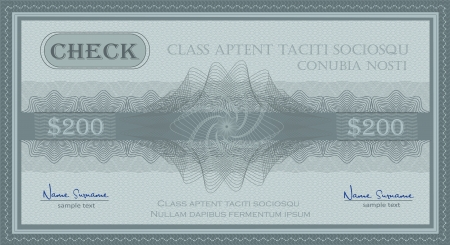 vector check guilloche security coupon blue Illustration