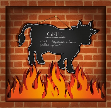 vector blackboard cow bull fireplace grill Illustration