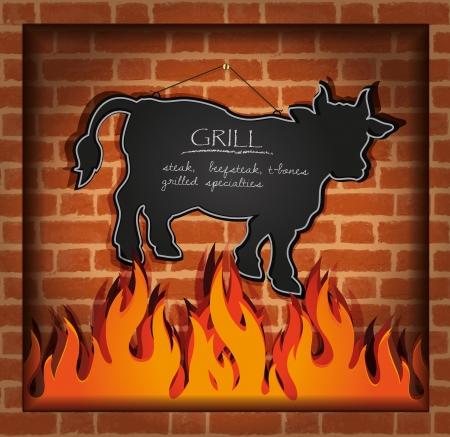 vector blackboard cow bull fireplace grill Stock Illustratie