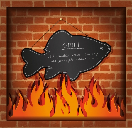 speciality: vector blackboard fish fireplace grill