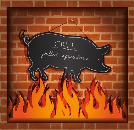 brick background: vector blackboard pig fireplace grill
