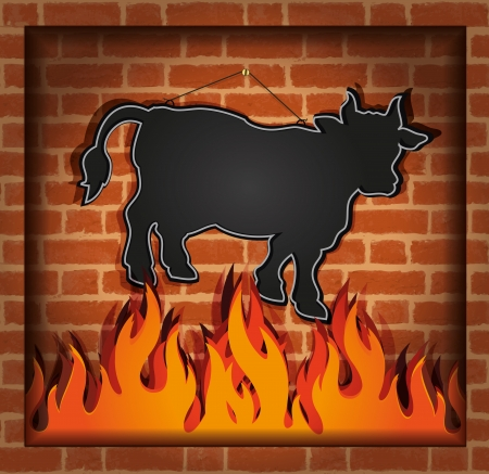 raster blackboard cow bull fireplace grill photo