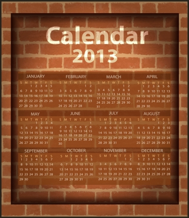 calendar brick fireplace 2013 Vector