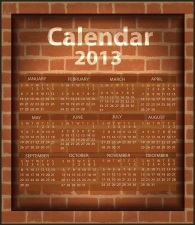 calendar brick fireplace 2013 Vector