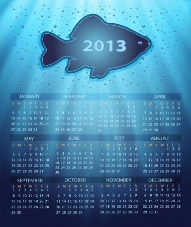 calendar 2013 fish water blue background drops Stock Vector - 14358981