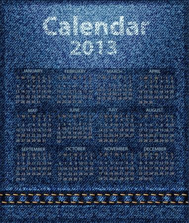 calendar jeans 2013 Vector