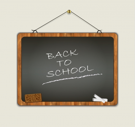 blackboard back to school wood frame black Vector