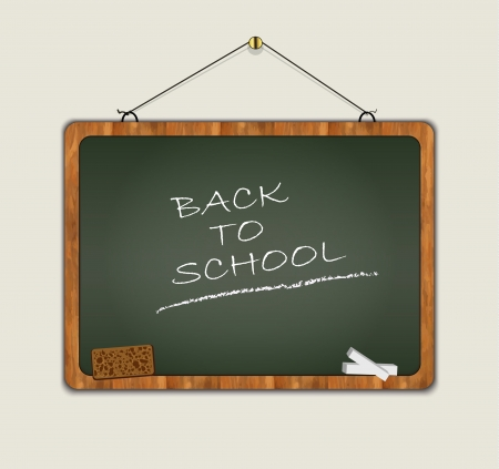 blackboard back to school wood frame green  Vector