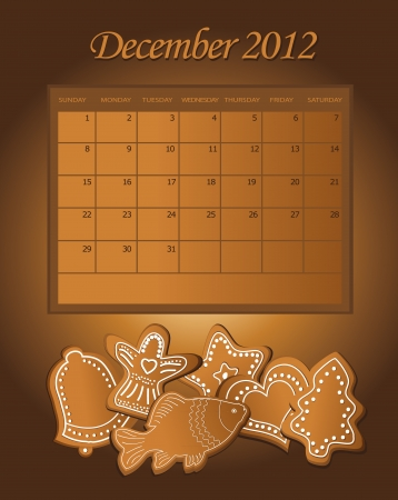 Calendar gingerbread December Christmas 2012  Vector