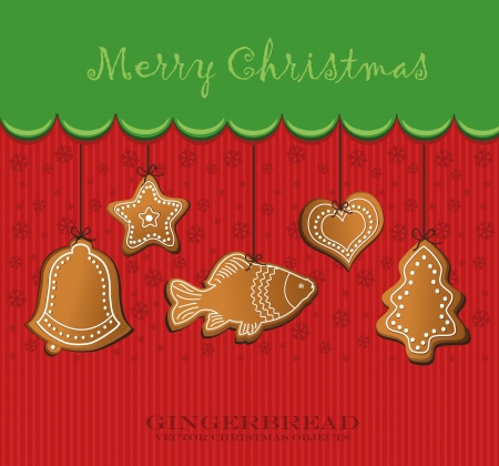 merry christmas gingerbread card  Vector