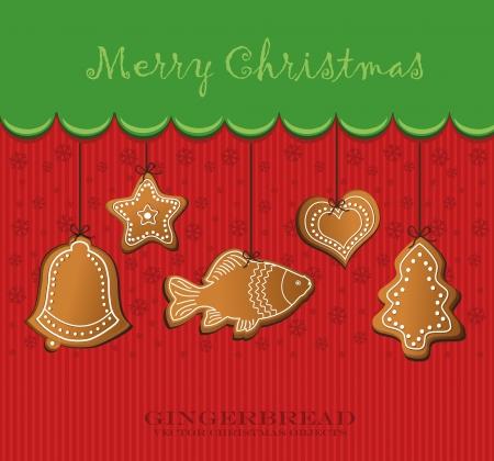 merry christmas gingerbread card Stock Vector - 14358991