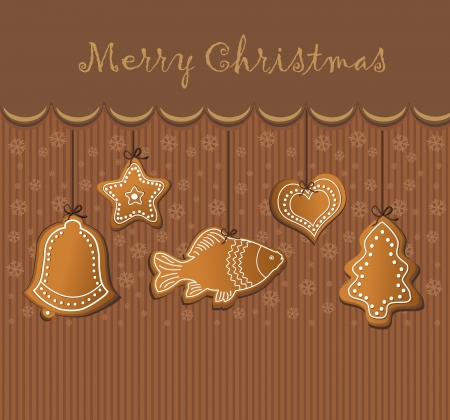 christmas gingerbread card chocolate  Vector