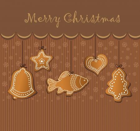 lebkuchen: Weihnachten Lebkuchen-Karte Schokolade Illustration