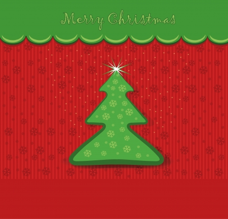 merry christmas card tree  Vector