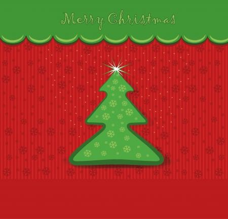 merry christmas card tree  Vector