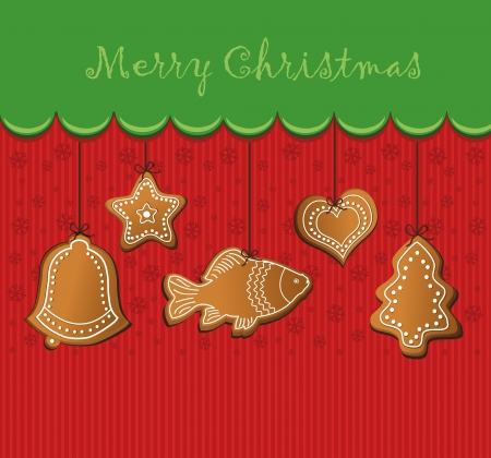 raster merry christmas gingerbread card  photo