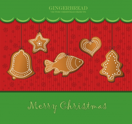christmas gingerbread green card Vector