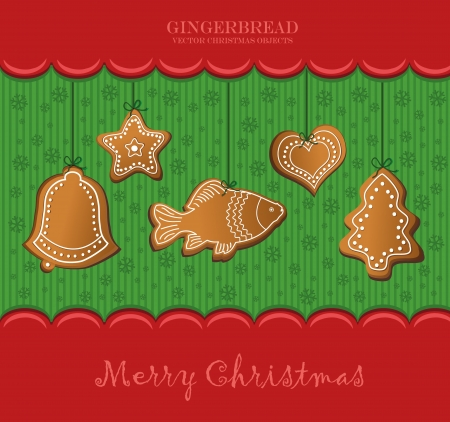 christmas gingerbread red card Vector