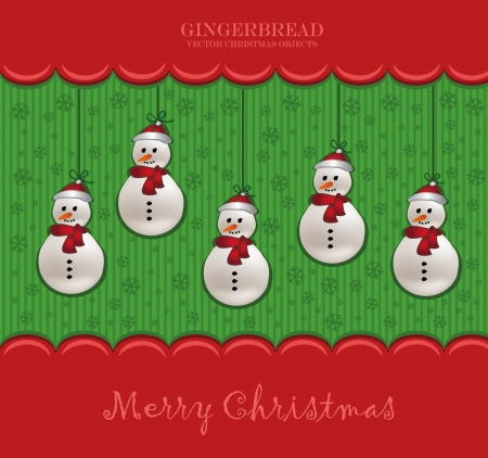 christmas snowman red card Vector