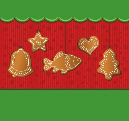 raster christmas gingerbread green card photo